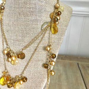 Gold & Gemstone 3 layer necklace